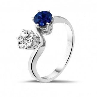 钻石求婚戒指 - 你和我1.00克拉 双宿双栖 蓝宝石白金钻石戒指