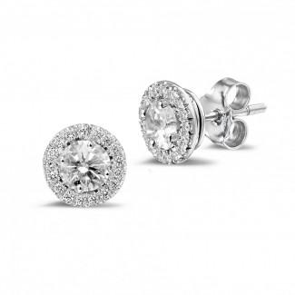 圆形钻石耳环 - Halo 光环1.00 克拉白金钻石耳钉