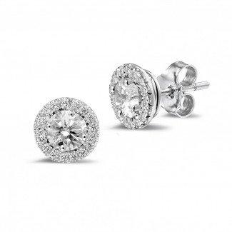 钻石耳环 - Halo 光环1.00 克拉白金钻石耳钉