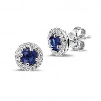钻石耳环 - Halo 光环1.00 克拉白金钻石蓝宝石耳钉