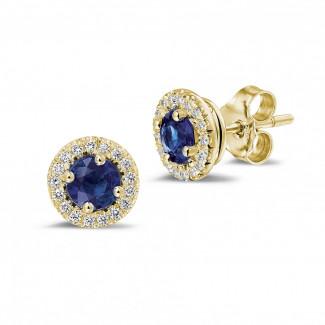 钻石耳环 - Halo 光环1.00 克拉黄金钻石蓝宝石耳钉