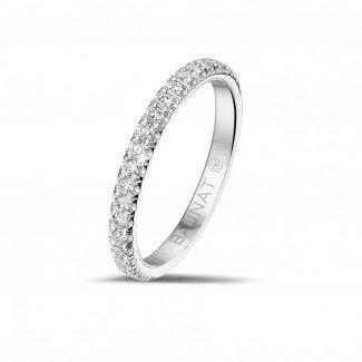 铂金钻石结婚戒指 - 0.35克拉铂金镶钻婚戒(半环镶钻)