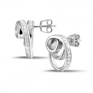 白金钻石耳环 - 设计系列0.84克拉白金密镶钻石耳环