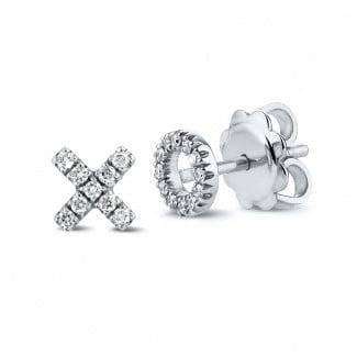 圆形钻石耳环 - 字母XO白金钻石耳环