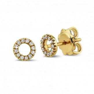 钻石耳环 - 字母O黄金钻石耳环
