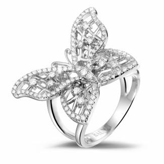 Monarca - 设计系列0.75克拉白金钻石蝴蝶戒指
