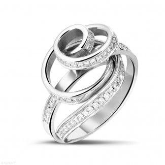 白金钻石求婚戒指 - 设计系列0.85克拉白金钻石戒指