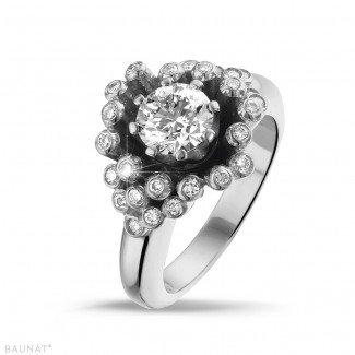 白金钻石求婚戒指 - 设计系列0.90克拉白金钻石戒指