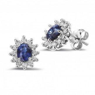 白金钻石耳环 - 白金椭圆形蓝宝石耳钉