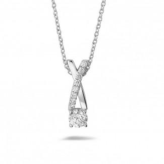 钻石吊坠 - 0.50克拉白金钻石项链