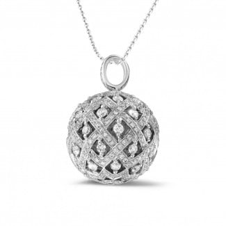 白金钻石项链 - 2.00克拉白金钻石吊坠项链