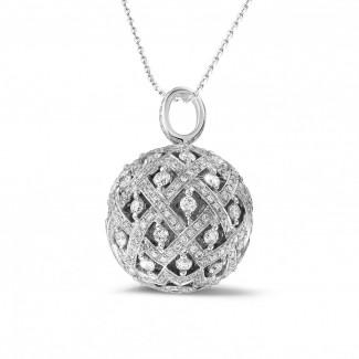 钻石吊坠 - 2.00克拉白金钻石吊坠项链
