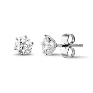 圆形钻石耳环 - 1.00克拉6爪白金钻石耳钉
