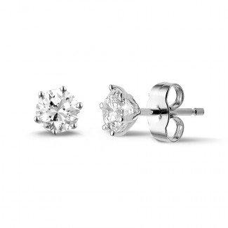 铂金钻石耳环 - 1.00克拉6爪铂金钻石耳钉