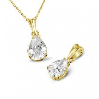 黄金钻石项链 - 1.00克拉梨形钻石黄金吊坠