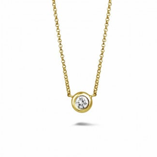 黄金钻石项链 - 0.50克拉黄金钻石吊坠项链