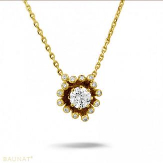 钻石项链 - 设计系列 0.75克拉黄金钻石吊坠项链