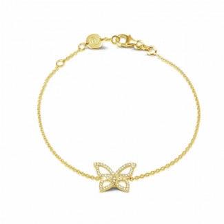 钻石手链 - 设计系列0.30克拉黄金密镶钻石蝴蝶手镯