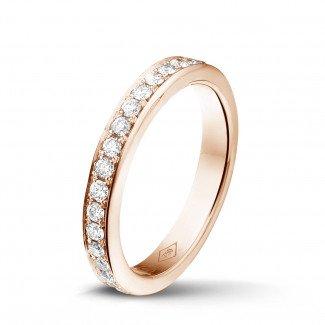玫瑰金钻石结婚戒指 - 0.68 克拉玫瑰金密镶钻石戒指