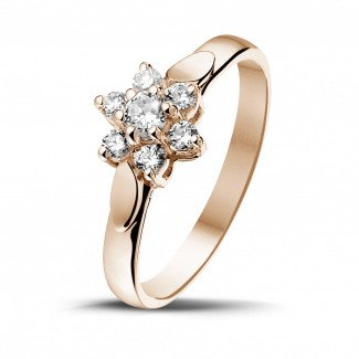 玫瑰金钻石求婚戒指 - 花之恋0.30克拉玫瑰金钻石戒指