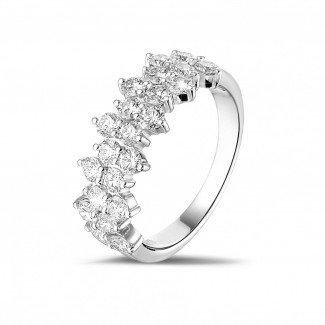 白金钻石结婚戒指 - 1.20 克拉白金密镶钻石戒指