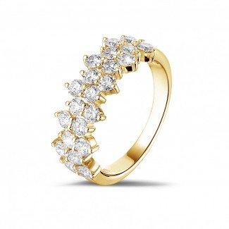 黄金钻石结婚戒指 - 1.20克拉黄金密镶钻石戒指