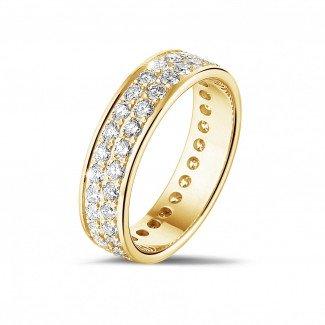 黄金钻石结婚戒指 - 1.15克拉黃金密镶两行钻石戒指