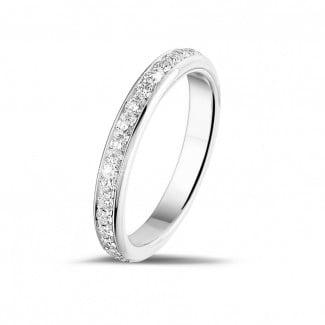 钻石结婚戒指 - 0.55 克拉白金密镶钻石戒指