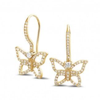 黄金 - 设计系列0.70克拉黄金密镶钻石蝴蝶耳环