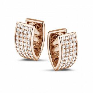 玫瑰金钻石耳环 - 2.16克拉玫瑰金密镶钻石耳钉