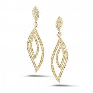 黄金钻石耳环 - 2.35克拉黄金密镶钻石耳环