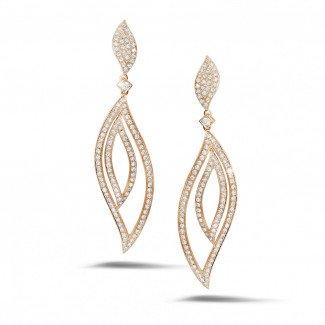 玫瑰金钻石耳环 - 2.35克拉玫瑰金密镶钻石耳环