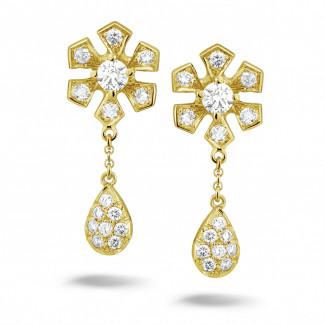 黄金 - 设计系列0.90克拉黄金钻石花耳环
