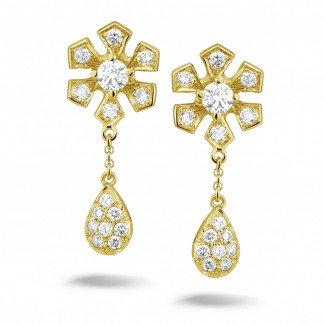 黄金钻石耳环 - 设计系列0.90克拉黄金钻石花耳环