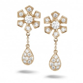 玫瑰金钻石耳环 - 设计系列0.90克拉玫瑰金钻石花耳环