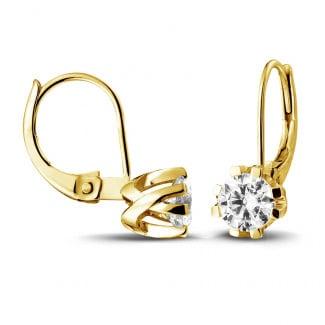 钻石耳环 - 设计系列1.00克拉8爪黄金钻石耳环