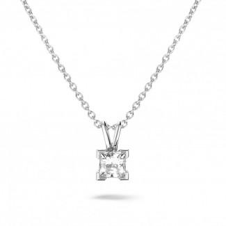 白金钻石项链 - 0.70克拉公主方钻白金吊坠