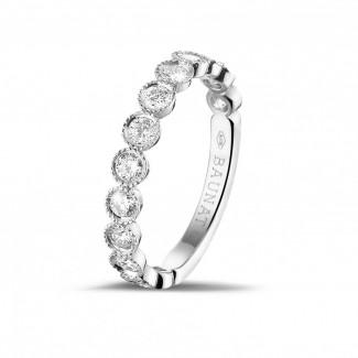 圆形钻石婚戒 - 0.70克拉可叠戴白金钻石永恒戒指