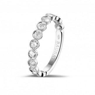 钻石结婚戒指 - 0.70克拉可叠戴白金钻石永恒戒指