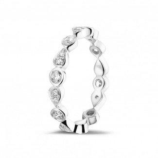 可叠戴戒指 - 0.50克拉可叠戴白金钻石永恒戒指 - 梨形设计