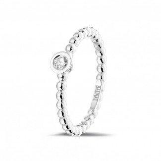0.07克拉可叠戴钻石串珠白金戒指