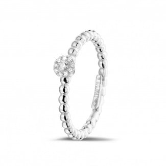 光环围镶戒指 - 0.04克拉可叠戴串珠白金钻石戒指