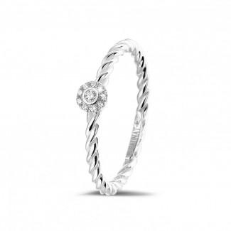 光环围镶戒指 - 0.04克拉可叠戴螺旋白金钻石戒指