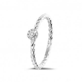 钻石戒指 - 0.04克拉可叠戴螺旋白金钻石戒指