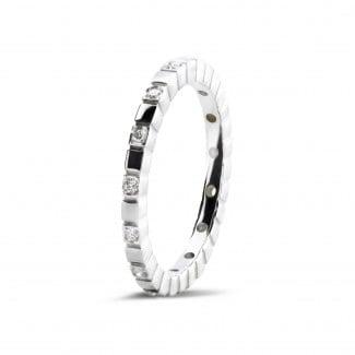 圆形钻石婚戒 - 0.07克拉可叠戴白金钻石格子戒指