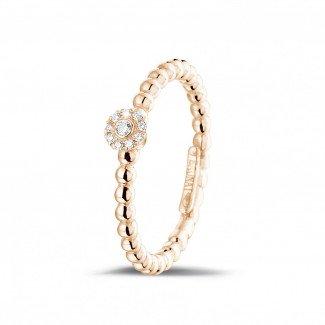 0.04克拉可叠戴串珠玫瑰金钻石戒指