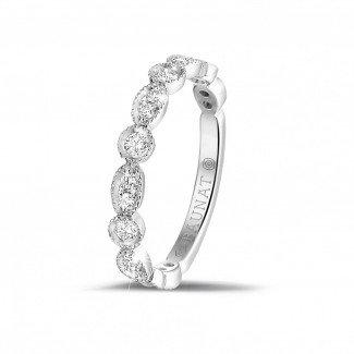 铂金钻石结婚戒指 - 0.30克拉可叠戴铂金钻石永恒戒指 - 榄尖形设计