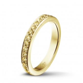 钻石戒指 - 0.68 克拉黄金密镶黄钻戒指