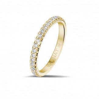 黄金钻石结婚戒指 - 0.35克拉黄金镶钻婚戒(半环镶钻)