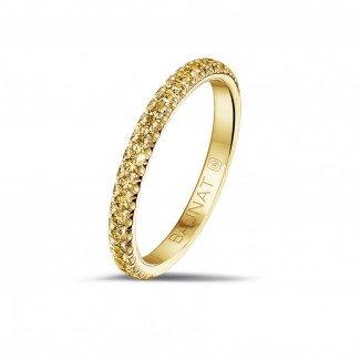 黄金钻石结婚戒指 - 0.35克拉黄金密镶黄钻婚戒(半环镶钻)